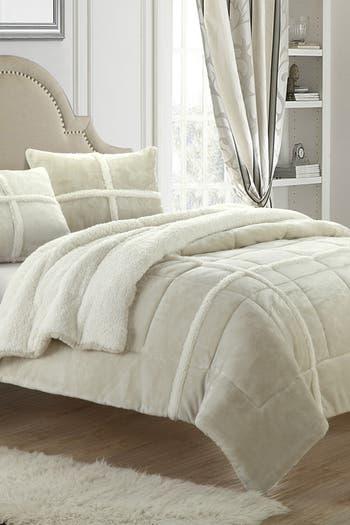 Комплект одеял Queen Camille Box Sherling на подкладке - Бежевый CHIC