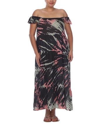 Макси-платье с открытыми плечами и принтом тай-дай больших размеров, прикрытие Raviya