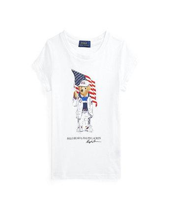 Toddler Girls Team USA Polo Bear Cotton Jersey T-shirt Ralph Lauren