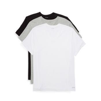 3 пары хлопковых футболок с V-образным вырезом Calvin Klein