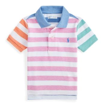 Полосатая рубашка-поло из хлопковой сетки Ralph Lauren