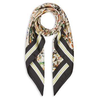 Шелковый квадратный шарф с принтом Montage Burberry
