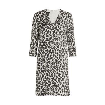 Платье прямого кроя с V-образным вырезом и принтом снежного леопарда Dorras ESCADA