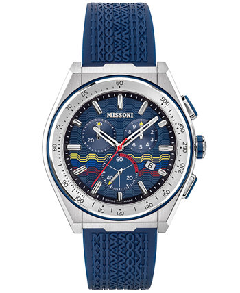 Мужские часы Swiss Chronograph M331 с синим каучуковым ремешком 45 мм Missoni