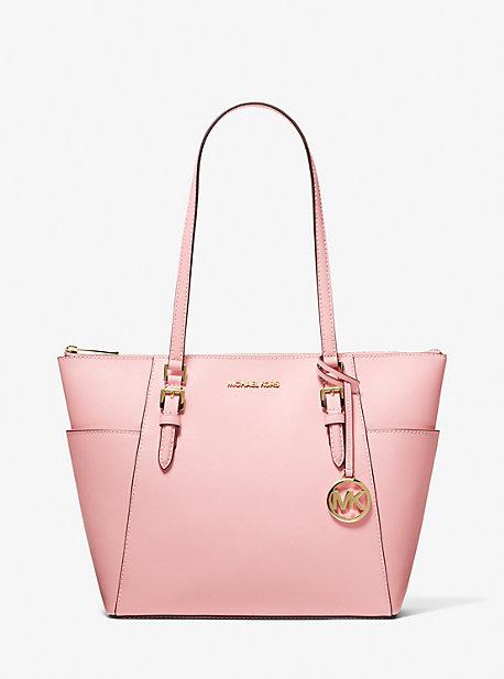 Большая сумка-тоут из сафьяновой кожи Charlotte на молнии сверху Michael Kors