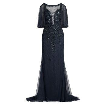 Платье-иллюзия из бисера Basix Black Label
