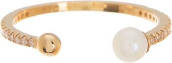 Открытое кольцо из 14-каратного желтого золота с жемчугом и бриллиантами Paige Novick