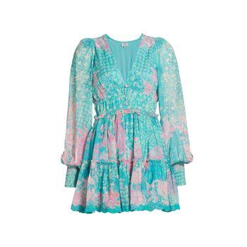 Мини-платье из жоржета с длинными рукавами и цветочным принтом HEMANT & NANDITA