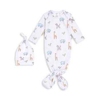 Детское двухкомпонентное трикотажное платье Jungle Jammin Comfort и завязанное узлом; Набор шляп Aden + anais