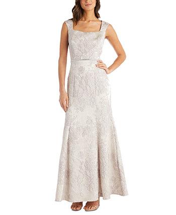 Парчовое платье с украшенной талией R & M Richards