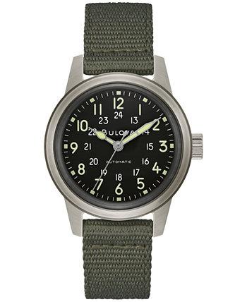 Мужские автоматические часы в стиле милитари с зеленым нейлоновым ремешком 38 мм Bulova