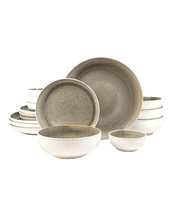 222 Пятый набор столовой посуды Resona Moss Green из 16 предметов, сервиз для 4 человек Sango