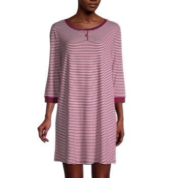 Striped Henley Sleepshirt Carole Hochman