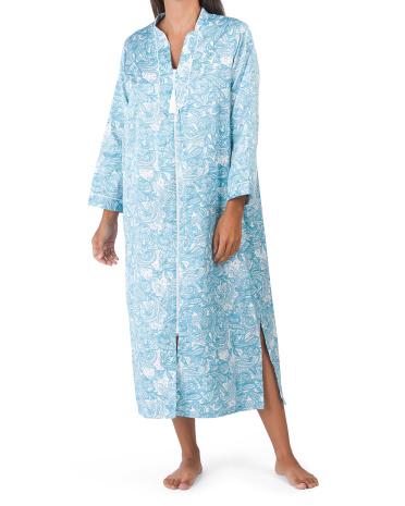 Длинный халат из атласного пейсли с начесом на спине Miss Elaine