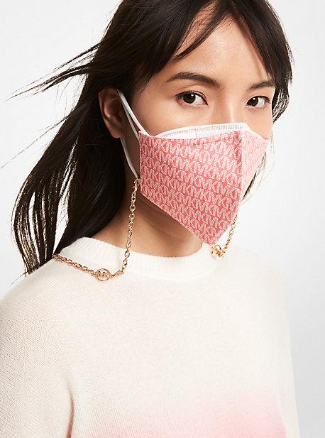 Gold-Tone Logo Charm Mask Chain Michael Kors