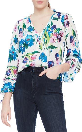 Блуза из смесового шелка с цветочным рисунком Cassidy Parker