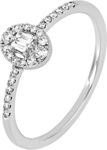 Овальное кольцо с бриллиантом Mika из белого золота 18 карат - Размер 7 - 0,15 карата Bony Levy
