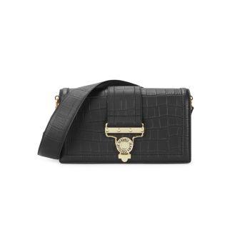 Кожаная сумка через плечо с тиснением под крокодиловую кожу Versace Jeans Couture