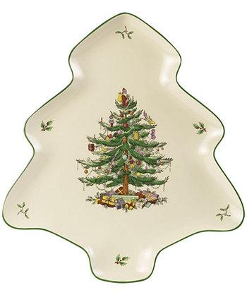 Елочная сервировочная посуда в форме тарелки Spode