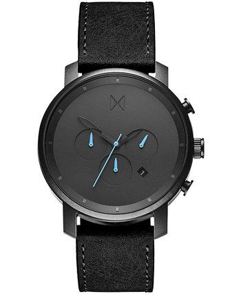 Мужские часы Chrono с черным кожаным ремешком 45 мм MVMT