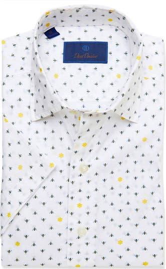 Классическая рубашка с короткими рукавами и принтом пчелы David Donohue David Donahue