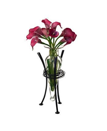 Прозрачная ваза для амфоры с проволочной подставкой Danya B