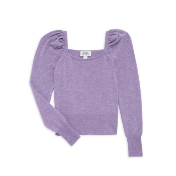 Girl's Cashmere-Blend Puff-Sleeve Sweater Autumn Cashmere