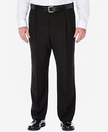 Мужские большие и высокие Eclo Stria Классические Fit плиссированные скрытые растягивающиеся брюки для брюк HAGGAR