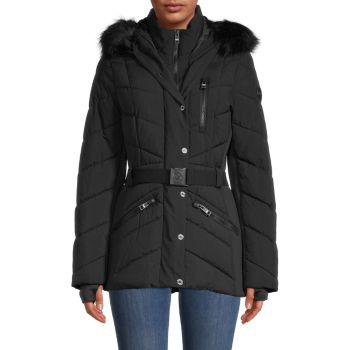 Faux Fur-Trimmed Quilted Jacket MICHAEL Michael Kors