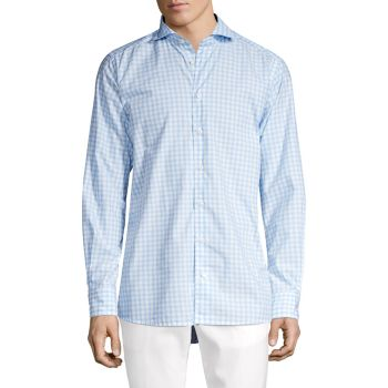 Contemporary-Fit Gingham Check Soft Casual Shirt Eton