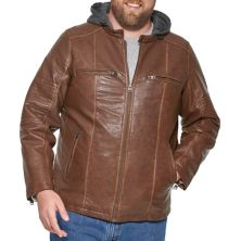 Big & Tall Levi's® Faux Leather Quilted Racer Jacket With Jersey Hood Levi's®