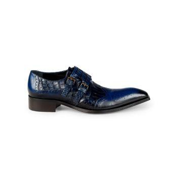Кожаные туфли с тиснением под крокодиловую кожу с двумя ремешками-монахами Jo Ghost
