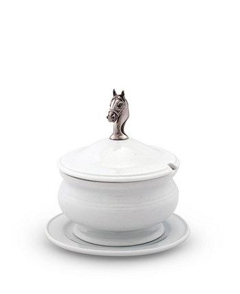 Фарфоровый суп с крышкой, соус, подливка с твердой оловянной ручкой в виде головы лошади, ручка Vagabond House