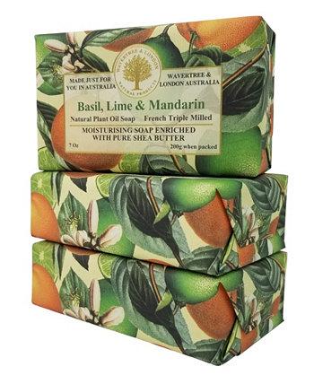 Мыло с базиликом, лаймом и мандарином, упаковка из 3 шт., Каждая по 7 унций Wavertree & London