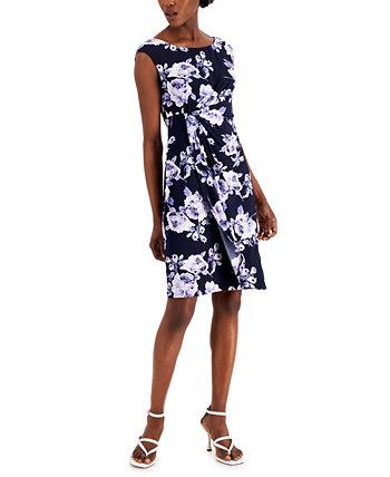 Petite Faux-Wrap Sheath Dress Connected