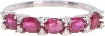 Кольцо из белого золота 14 карат с рубином и бриллиантом - 0,08 карата Meira T