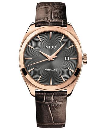 Мужские швейцарские автоматические часы Belluna Royal Brown с кожаным ремешком 41 мм MIDO
