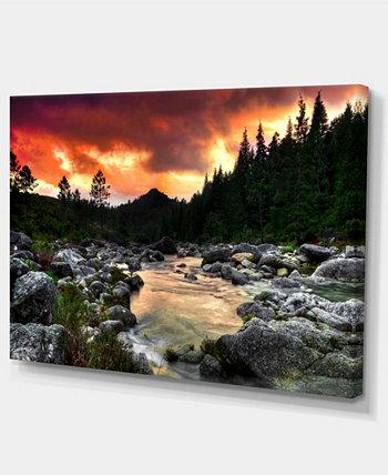 """Designart Река Скалистых гор на закате. Очень большая стена. Художественный пейзаж - 32 """"X 16"""" Design Art"""