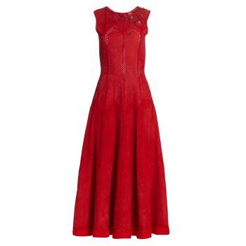 Замшевое платье трапециевидной формы с цветочной аппликацией Oscar de la Renta