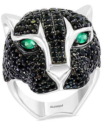 Мужское кольцо EFFY® из стерлингового серебра с черной шпинелью и головой кошки из зеленого оникса EFFY Collection