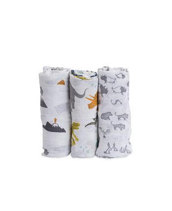 Dino Friends Хлопковый муслин 3-пакетный пеленальный комплект Little Unicorn