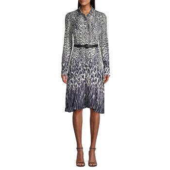 Платье-рубашка Aisha с леопардовым принтом и поясом Elie Tahari