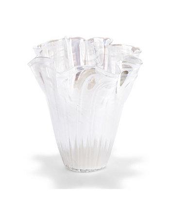 Белая мерцающая стеклянная ваза Two's Company