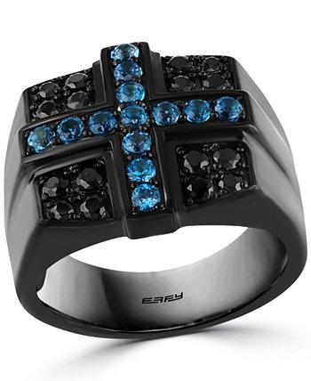 Мужское кольцо с голубым топазом EFFY® London Blue Topaz (5/8 карат) и крестообразное кольцо из черной шпинели с черным PVD-покрытием поверх стерлингового серебра EFFY Collection