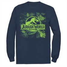 Мужская футболка Jurassic World Grey Jungle Classic Logo с длинным рукавом и графикой Jurassic World