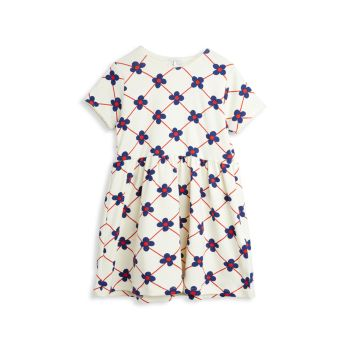 Маленькая девочка & amp; Платье в клетку из органического хлопка с цветком для девочек Mini rodini