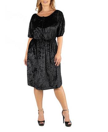 Черное бархатное платье с открытыми плечами 24seven Comfort Apparel