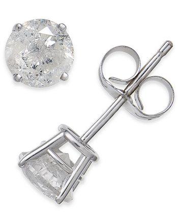 Серьги-гвоздики с бриллиантами (3/4 карата) из белого золота 585 пробы Macy's
