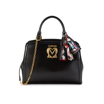 Faux Leather Satchel with Scarf LOVE Moschino