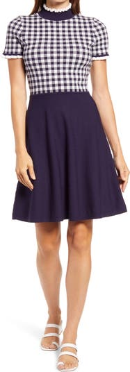 Платье в клетку с короткими рукавами и лифом с пышной юбкой Eliza J